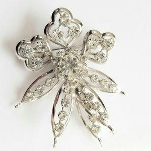 Crystal Rhinestone Layered Floral Brooch